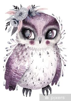 Watercolor owl with flowers. Hand drawn illustration with bird in boho style. Watercolor Owl, Printable Poster, Beautiful Owl, Simple Prints, Cute Owl, Stock Foto, Art Journal Inspiration, Cute Illustration, Art Google