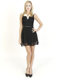 Black Dresses - Belted Mono Chiffon Collar Black Dress - http://www.blackdresses.co.uk