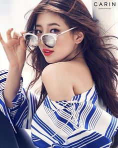 Suzy is pretty in shades for glasses brand 'Carin'!The photoshoot used white and blue colors for a perfect, summery theme. Suzy looks both cool and se… Bae Suzy, Korean Beauty, Asian Beauty, Korean Girl, Asian Girl, Korean Star, Kdrama, Miss A Suzy, Glasses Brands