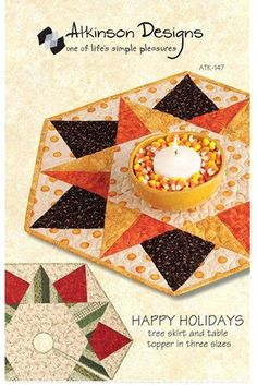 Happy Holidays by Atkinson Designs - candy corn table topper pattern!