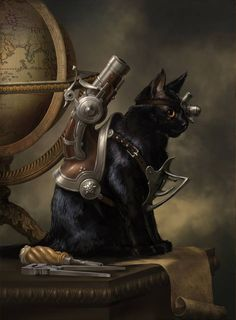 Steampunk Tendencies | 'Trigger the cat' - Ruslan Svobodin #Painting #Steampunk #Cat #Caturday