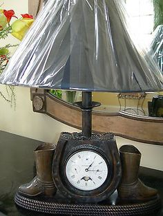 Maitland Smith Antique Brass Cowboy Boot Horse Motif Clock Table Lamp