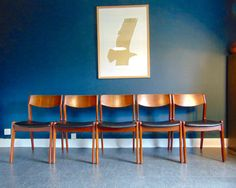 Mid Century Danish Rosewood Dining Chairs. Vintage 1950's Set of Five Dining Chairs With Black Vinyl Seats. Original, Restored. by KingdomFurnishings on Etsy