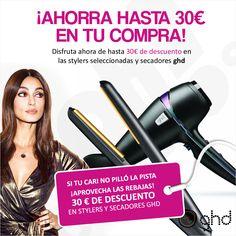 Si tu cari no pilló la pista ... ¡Aprovecha las rebajas!  Disfruta ahora de hasta 30€ de descuento en las stylers seleccionadas y secadores ghd.  http://ohpeluqueros.com/shop/marca/ghd
