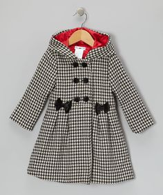 Look at this Joe-Ella Black & White Houndstooth Hooded Swing Coat - Toddler & Girls on #zulily today!