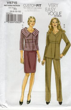 Vogue 8715  Sewing Pattern Collar Variations Seamed Blouse 2011 Out of Print Old Store Stock Size 6 8 10 12 Bust 30.5 31.5 32.5 34 by LanetzLiving on Etsy