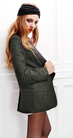 Stylish Slimming Fit Leather Collar One Button Long Sleeve Women's Wool Suit Coat (ARMY GREEN,L), Jackets & Coats - fashiondresswholesale.com