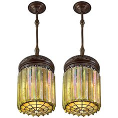 """Pair of Tiffany Studios """"Prism"""" Chandeliers 