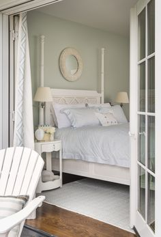 "Rhode Island Beach Cottage with Coastal Interiors - ""Master Bedroom Paint Color"" (Sherwin Williams Sea Salt SW Sherwin Williams Sea Salt, Coastal Bedding, Coastal Bedrooms, Coastal Rugs, Coastal Curtains, Blue Bedding, Modern Coastal, Coastal Living, Coastal Decor"