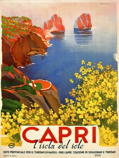 CAPRI Flowers Beach Sea Italia Italy Tourism Travel Vintage Poster Repo FREE S/H in Art, Art from Dealers & Resellers, Other Art from Resellers | eBay