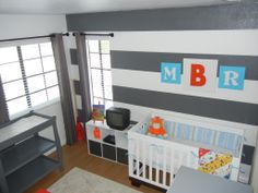 baby boy nursery, or girl. Like the gray and white strip wall