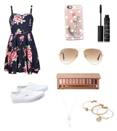 """Cute floral dress"" by soccer-tumblr ❤ liked on Polyvore featuring Ally Fashion, Alex and Ani, Urban Decay, Vans, Casetify, Ray-Ban, NARS Cosmetics, Aéropostale, women's clothing and women"