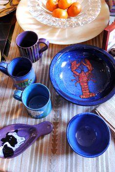 Colorful ceramics with handmade animal prints!