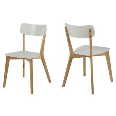 Club Birch & Lacquered White Wooden Chairs offer a comfortable and supportive seating experience around any dining table. White Wooden Chairs, Solid Wood Dining Chairs, Dining Chair Set, Modern Wood Chair, Chairs Online, Aalborg, Kitchen Chairs, Chair Design, Side Chairs