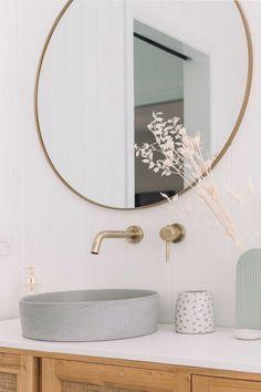 Concrete Nation gets a tour of the new bathroom at Bilinga Beach Abode. Bathroom Tapware, Brass Bathroom, Laundry In Bathroom, Bathroom Inspo, Bathroom Inspiration, Paint Bathroom, Bathroom Sinks, Brass Shower Head, Coastal Bathrooms