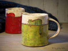 handmade ceramic tea mugs by Giosy Matteu #ceramic #pottery