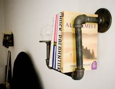 Industrial pipe bedside shelf and table, Dirty Bils Interiors on Cool Material via Remodelaholic
