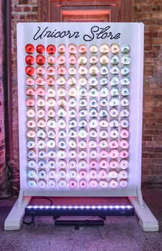 10 Best Ideas of the Week: a Charitable Wishing Wall, a Halo Top Ice Cream Bar, a Life-Size Tiffany Fragrance Bottle - Top-Trends Otium Restaurant, Party Unicorn, Rainbow Donut, Unicorn Store, Wedding Snacks, Bottle Top, Donut Shop, Icecream Bar, Event Design