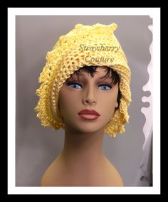 Buttercup Yellow Crochet Hat Womens Hat Summer Hat for Women Crochet Beanie Hat Buttercup Yellow Hat Cotton Hat LAUREN 40.00 USD by #strawberrycouture on #Etsy