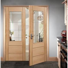 Palermo Oak Door Pair with Clear Etched Safety Glass great size options simple styling at a great price. - August 17 2019 at Oak Interior Doors, Oak Doors, Exterior Doors, Glass Panel Door, Doors With Glass Panels, Glass Doors, Panel Doors, Double Door Design, Door Fittings