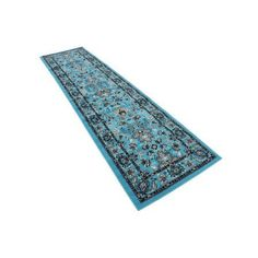 Unique Loom Traditional Kashan Turquoise 2' 7 x 10' Runner Rug, Blue