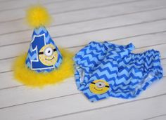 Birthday Party Hat, Diaper Cover, Tie - First Birthday, Smash Cake Pics, Photo Prop - Despicable Me Minions in Blue Chevron and Yellow - Cake Smash Outfit