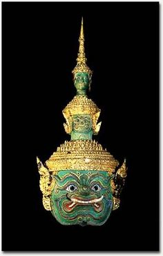 Mask of Green 10-headed demon Thotsakan Na Thotsakan Longka Army - Gift of King Chulalongkorn, 1876 - Thailand