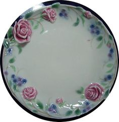 "'FRANZ PORCELAIN' ""ROUND TRAY ENGLISH GARDEN ROSE DESIGN""  FZ690 Mint In Box"