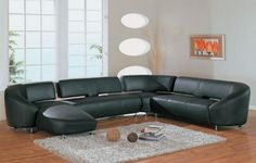 Modern Black L Shaped Leather Sectional Sofa
