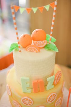 Cake detail from a Citrus Harvest Birthday Party via Kara's Party Ideas! KarasPartyIdeas.com (41)
