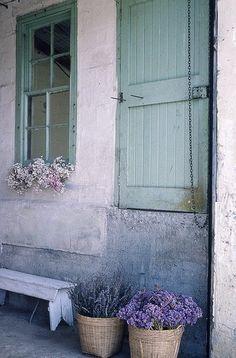 turquoise window and door