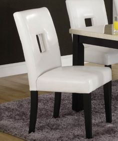Side Chair in White Bi-cast Vinyl of Archstone Collection by Homelegance - http://www.furniturendecor.com/side-chair-in-white-bi-cast-vinyl-of-archstone/