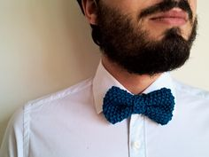 Papillon modello Charlie | 100% PimaCotton Blu Oceano | Blue Ocean knitted bowtie | Perfect gift for him