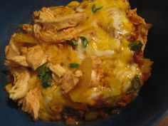 What to do when you want chicken enchiladas but you don't have any tortillas? Make this and you won't even miss 'em! This is all the good stuff of the chicken enchiladas you know and love without a...