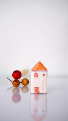 Miniature Clay Art in Orange  JOY  My by VitezArtGlassDesign