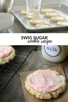 Swig Sugar Cookie Recipe Looking For A Delicious Sugar Cookie? Make This Swig Sugar Cookie Recipe. They Are So Easy To Make And Taste Just Like The Famous Swig Cookies Sugar Cookie Topped With Their Signature Pink Sour Cream Frosting! Sour Cream Frosting, Cookie Frosting, Swig Sugar Cookies, Yummy Cookies, Halloween Desserts, Cupcakes, Delicious Desserts, Dessert Recipes, Cheesecake