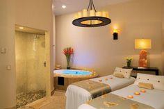 Treatment Room at the Secrets Maroma Beach Riviera Cancun (All Inclusive), Playa del Carmen, Mexico Massage Room, Spa Massage, Massage Therapy, Cancun All Inclusive, Reiki Room, Couple Beach, Beach Couples, Spa Rooms, Luxury Spa