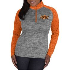 Ncaa Oklahoma State Cowboys Ladies 1/4 Zip Athletic-Fitness Pullover, Women's, Size: XL, Gray