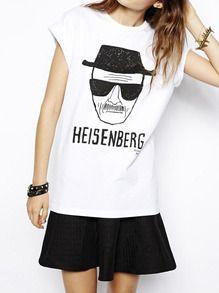 White Short Sleeve HEISENBERG Print T-Shirt
