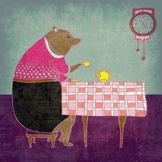 AFTERNOON TEA  pretty art print // bear lady by schalleszter
