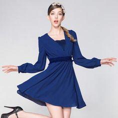 Set: Deep V-Neck Chiffon Dress + Lace Bra Top from #YesStyle <3 O.SA YesStyle.com