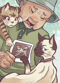 From Kafka on the Shore: Nakata with Kawamura, Mimi and the picture of missing cat Goma.