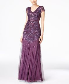 This would look great on Nana and she loves this color. Adrianna Papell Cap-Sleeve Embellished Gown