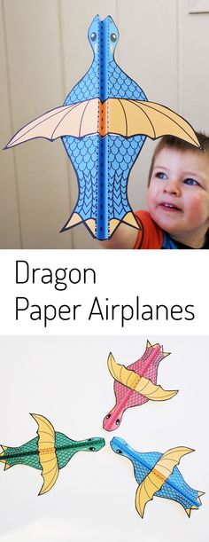 Such a fun printable papercraft for kids! Dragon paper airplane in three colors, plus a black & white version of this printable craft. My boys love making this paper airplane template and flying their dragon around the house.