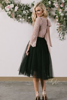 Shop the Eloise Black Tulle Midi Skirt at Morning Lavender - boutique clothing featuring fresh, feminine and affordable styles. 24 Easy Sytish Ways to Recreate Sequin Skirt Outfits Black Tulle Skirt Outfit, Midi Skirt Outfit, Dress Skirt, Pink Tulle Skirt, Sequin Skirt, Girly Outfits, Dance Outfits, Dress Outfits, Fashion Outfits