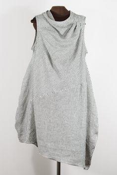 STRIPES black + white linen dress – secret lentil