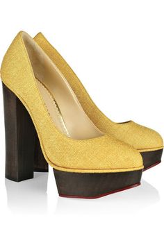Mirabellicious ♥: A Spring in Your Step: Charlotte Olympia, 'Bebel' textured cotton platform pumps.