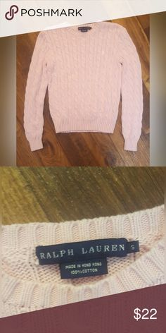 00c06d98c Ralph Lauren Polo Pink Cotton Cable Knit Sweater Ralph Lauren Light Pink Cable  Knit Sweater in