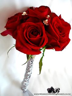 red-roses-silver-crystals by Blossom Wedding Flowers, via Flickr