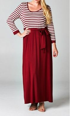 Women's plus size color block maxi dress with striped long sleeve top and solid skirt available at www.apostolicclothing.com #modesty #plussizefashion #modestfashion